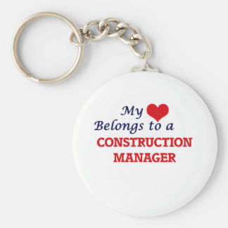 My heart belongs to a Construction Manager Basic Round Button Key Ring