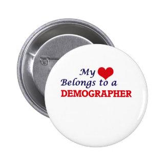 My heart belongs to a Demographer 6 Cm Round Badge