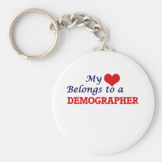 My heart belongs to a Demographer Basic Round Button Key Ring