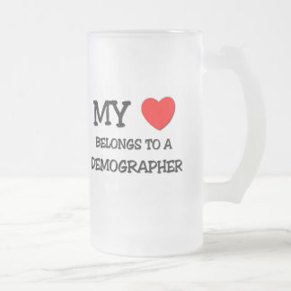 My Heart Belongs To A DEMOGRAPHER Frosted Glass Beer Mug