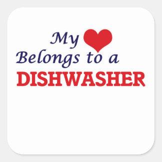 My heart belongs to a Dishwasher Square Sticker