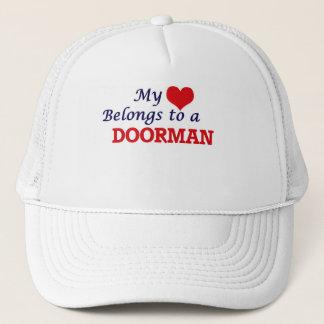 My heart belongs to a Doorman Trucker Hat