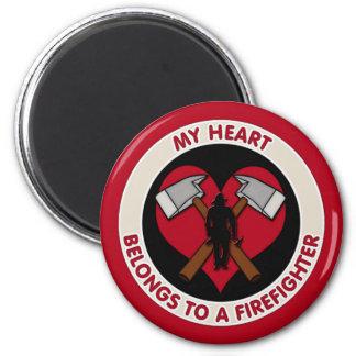 My Heart Belongs To A Firefighter 6 Cm Round Magnet