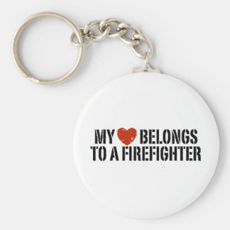My Heart Belongs To A Firefighter Basic Round Button Key Ring
