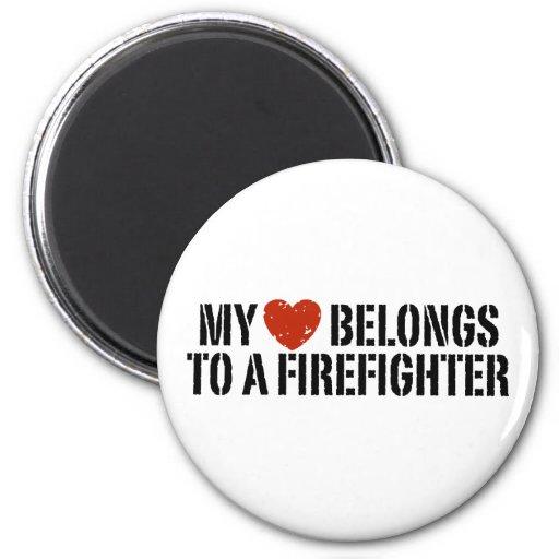 My Heart Belongs To A Firefighter Magnets
