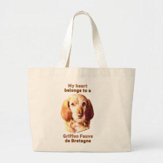 My Heart Belongs To A Griffon Fauve de Bretagne Large Tote Bag