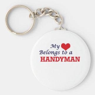 My heart belongs to a Handyman Basic Round Button Key Ring