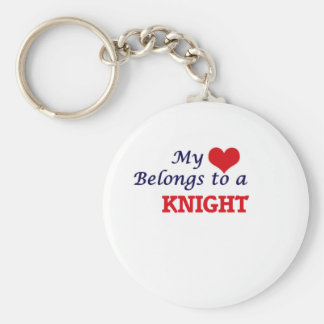 My heart belongs to a Knight Basic Round Button Key Ring