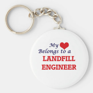 My heart belongs to a Landfill Engineer Basic Round Button Key Ring