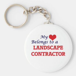 My heart belongs to a Landscape Contractor Basic Round Button Key Ring