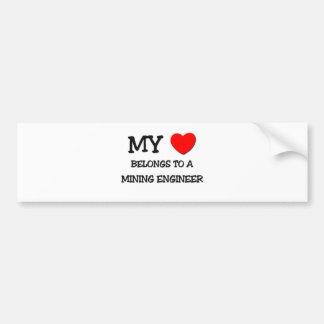 My Heart Belongs To A MINING ENGINEER Bumper Sticker