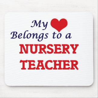 My heart belongs to a Nursery Teacher Mouse Pad