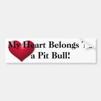 My heart belongs to a Pit Bull Bumper Sticker
