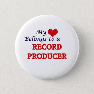 My heart belongs to a Record Producer 6 Cm Round Badge