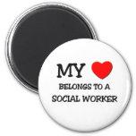 My Heart Belongs To A SOCIAL WORKER Refrigerator Magnet