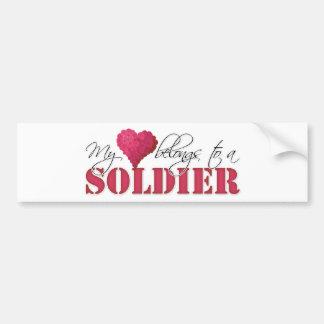 My Heart Belongs to A Soldier Bumper Sticker