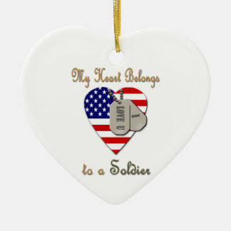 My Heart Belongs to A Soldier Ceramic Ornament