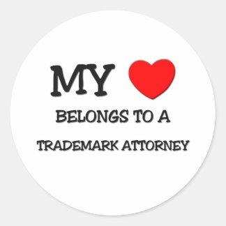 My Heart Belongs To A TRADEMARK ATTORNEY Sticker