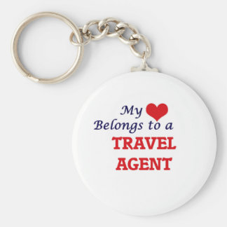 My heart belongs to a Travel Agent Basic Round Button Key Ring