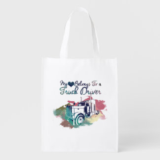 My Heart Belongs To a Truck Driver Reusable Grocery Bag