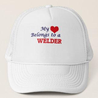 My heart belongs to a Welder Trucker Hat