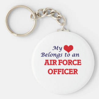 My Heart Belongs to an Air Force Officer Basic Round Button Key Ring