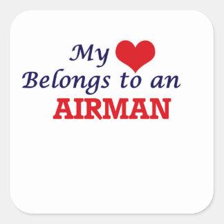 My Heart Belongs to an Airman Square Sticker