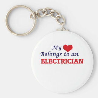 My Heart Belongs to an Electrician Basic Round Button Key Ring