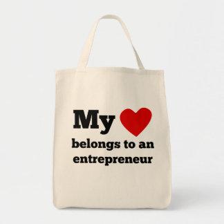 My Heart Belongs To An Entrepreneur Grocery Tote Bag