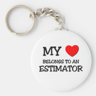 My Heart Belongs To An ESTIMATOR Basic Round Button Key Ring