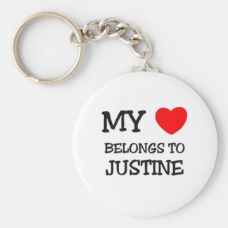 My Heart Belongs To JUSTINE Basic Round Button Key Ring