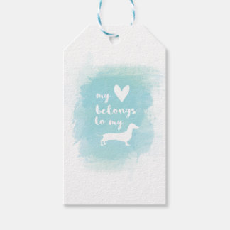 My heart belongs to my dachs calligraphy watercolo gift tags