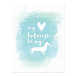 My heart belongs to my dachs calligraphy watercolo postcard