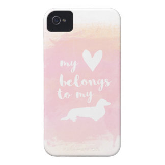 """""""My heart belongs to my dachs"""" pink calligraphy Case-Mate iPhone 4 Cases"""