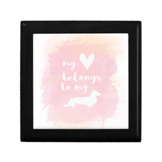 """My heart belongs to my dachs"" pink calligraphy Gift Box"