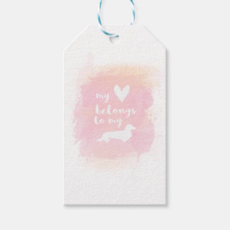 """My heart belongs to my dachs"" pink calligraphy Gift Tags"
