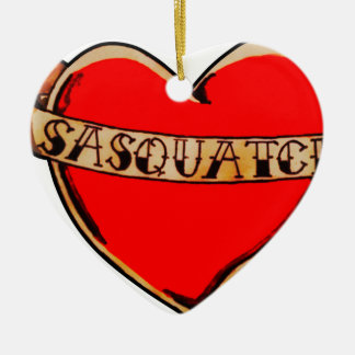My heart belongs to sasquatch ceramic heart decoration