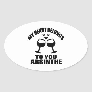 MY HEART BELONGS TO YOU ABSINTHE OVAL STICKER