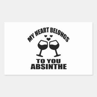 MY HEART BELONGS TO YOU ABSINTHE RECTANGULAR STICKER