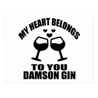 MY HEART BELONGS TO YOU DAMSON GIN POSTCARD