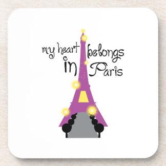 My Heart In Belongs Paris Drink Coaster