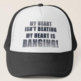 My heart is banging heavy metal ecg trucker hat