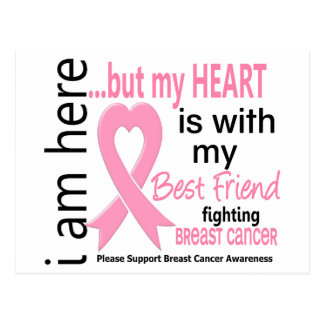 My Heart Is With My Best Friend Breast Cancer Postcard