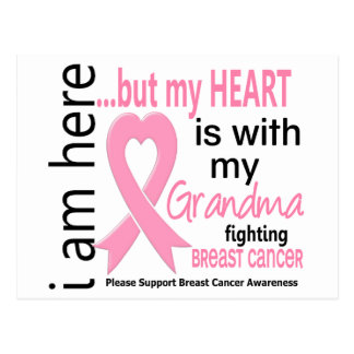 My Heart Is With My Grandma Breast Cancer Postcard