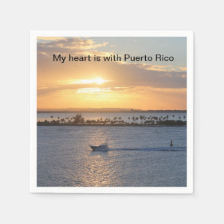 """""""My heart is with Puerto Rico"""" cocktail napkins Disposable Napkin"""
