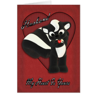 My heart is yours, Cute little Skunk with flying h Card