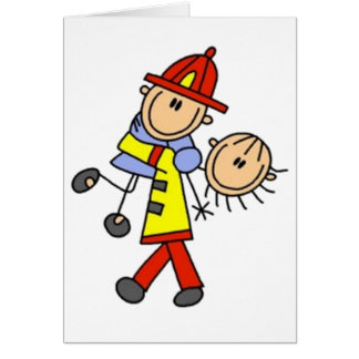 My Hero Firefighter Stick Figure Card