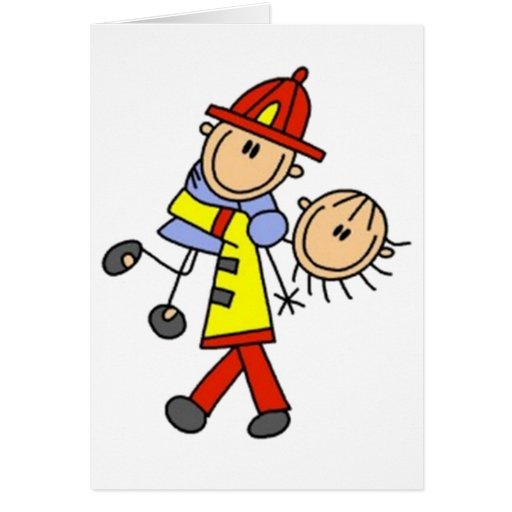 My Hero Firefighter Stick Figure Greeting Cards