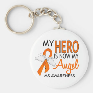 My Hero Is My Angel MS Basic Round Button Key Ring