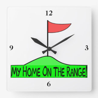 My Home On The Range Golf Square Wall Clock